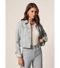 mob jaqueta jeans sustentável bolsos e punho delave feminino