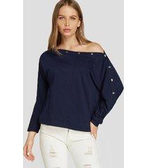 blusa de manga larga con diseño de remaches azul marino