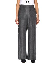 balmain pants wide balmain pants in lurex knit with jewel buttons
