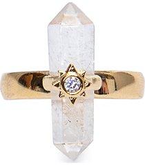 anel feminino astral cristal em metal - dourado