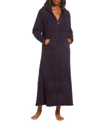 women's barefoot dreams cozychic hooded zip robe, size small/medium - purple