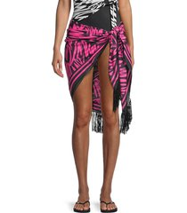 magicsuit women's abstract print fringe pareo coverup - black pink