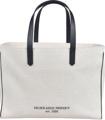 golden goose logo printed shopper bag
