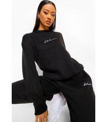woman geborduurd trainingspak met sweater, black