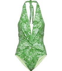 recycled fabric swimwear baddräkt badkläder grön ganni