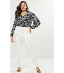 lane bryant women's belted pull-on ankle pant-crepe 14 cream