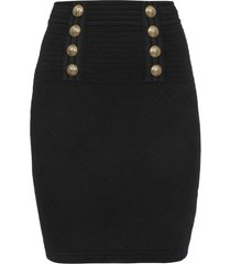 balmain high waist 6 btn diamond knit skirt