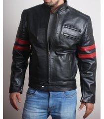 men's stylish retro leather jacket with red stripes, men leather jacket