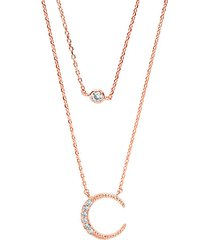 14k rose goldplated sterling silver & cubic zirconia crescent multi-strand necklace