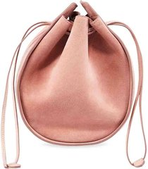 suede drawstring pouch pink