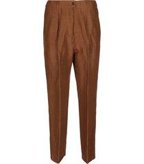 agnona brown linen-silk blend trousers