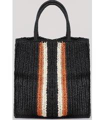 bolsa feminina tote grande com palha e listras preta