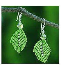 beaded silk dangle earrings, 'sparkling leaves in lime' (thailand)