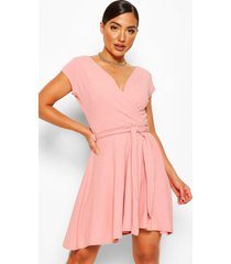 cap sleeve wrap belted skater dress, rose