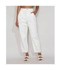 calça de sarja feminina baggy cintura super alta off white