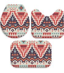 kit 3 tapetes decorativos para banheiro wevans abstrato multicolorido - multicolorido - dafiti