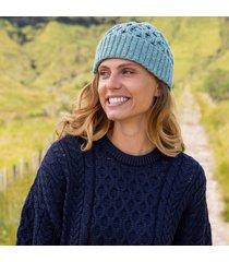 aqua cozy aran hat