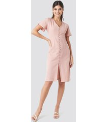 na-kd boho button front linen-blend dress - pink