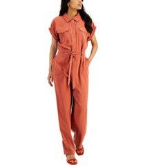 alfani short-sleeve tie jumpsuit, created for macy's