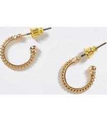 river island mens gold colour beaded hoop earrings