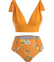 tied shoulder floral tankini swimwear