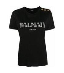 balmain camiseta com botão decorativo e estampa de logo - preto