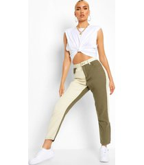 colour block high rise mom jeans, khaki