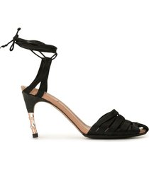 gucci pre-owned ankle tie pumps - black