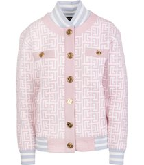 balmain woman white and pink bomber jacket in pied de poule tweed