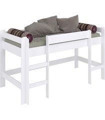 cama infantil elevada s/ escorregador completa móveis branco