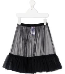 il gufo sheer panel ruffle hem skirt - blue