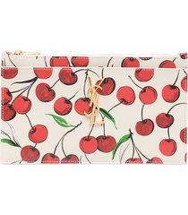 saint laurent logo-plaque cherry-print purse - neutrals