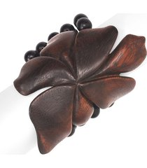 acacia wood floral bracelet, women's, beige, josie natori
