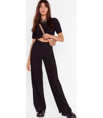 womens happy together ribbed crop top and wide-leg pants set - black