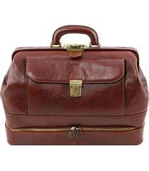 tuscany leather tl141297 giotto - esclusiva borsa medico in pelle con doppio fondo marrone