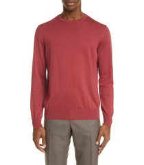 men's canali solid cotton crewneck sweater, size 48 us - red