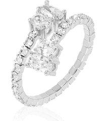 anello in metallo rodiato e strass per donna