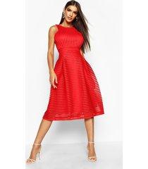 boutique panelled full skirt skater dress, red