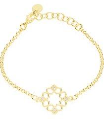 bracciale in ottone dorato e strass con simbolo fiore per donna