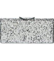 edie parker large lara acrylic clutch - metallic