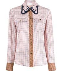 chloé western-inspired check-pattern shirt - pink