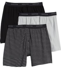 nordstrom 3-pack supima(r) cotton boxers, size large in charcoal grey htr- stripe pack at nordstrom