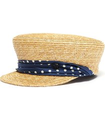 'abby' polka dot ribbon straw baker boy cap