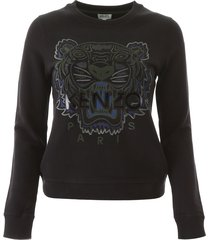 kenzo crepe sweatshirt with tiger embroidery