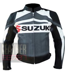 suzuki gsx grey leather motorcycle motorbike biker armour racing jacket coat