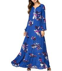 maxi vestiti blu con nappe con coulisse stampati floreali