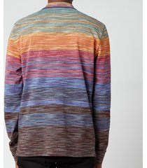 missoni men's stripe jersey long sleeve polo shirt - multi - xl
