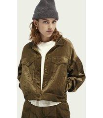 scotch & soda balloon-sleeved cotton-blend corduroy trucker jacket