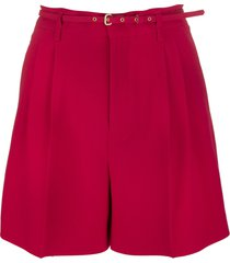 red belted bermuda shorts