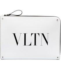 valentino garavani logo-print oversized clutch - white